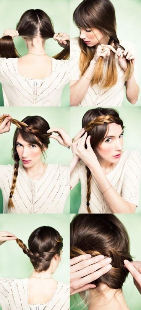 Прическа за 5 минут на длинные волосы своими руками фото