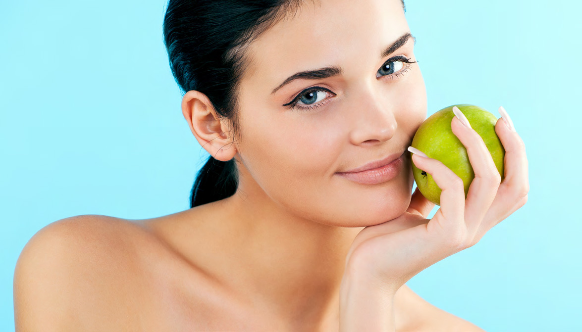 picture of lovely woman with apple