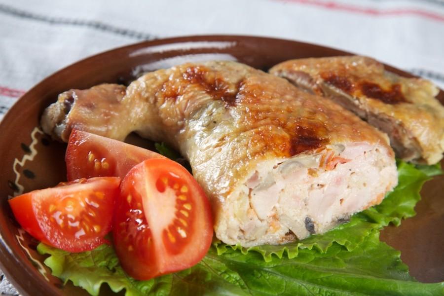 Фаршированные окорочка с грибами и сыром в духовке рецепт с фото пошагово