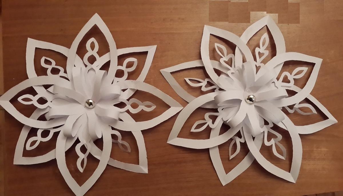 Объемные снежинки из бумаги своими руками с инструкцией