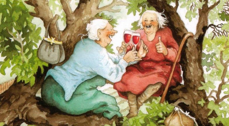 Открытки, смешные картинки про бабушек подружек